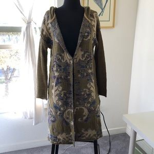 Long Tapestry hooded sweater coat
